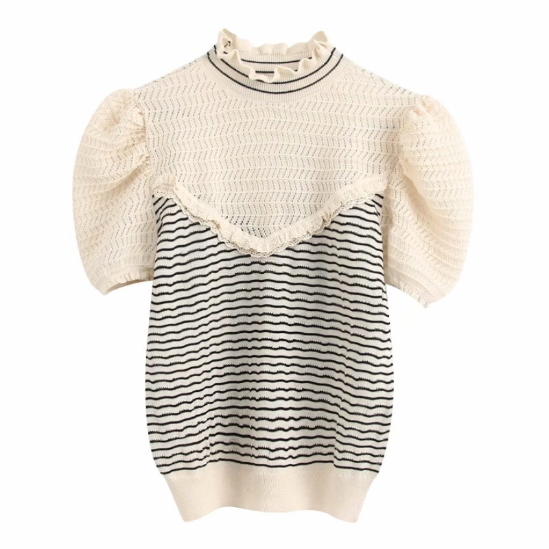 New Women Ruffled Collar Striped Patchwork Knitted Casual Sweater Ladies Sweet Puff Sleeve Lace Ruffles Thin Sweater Tops