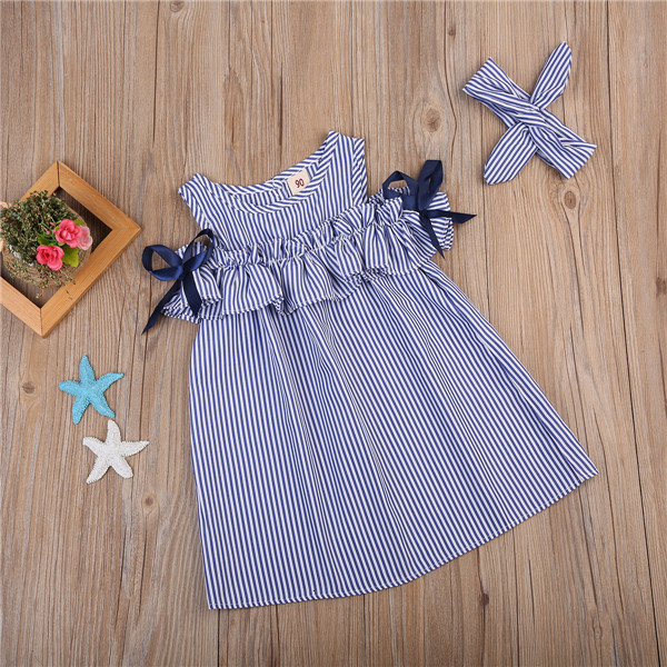 He1ddd50b2d1e4d0d8f9c3fcac222a9e60 Hot 2018 New Summer Dress Toddler Kids Baby Girls Lovely Birthday Clothes Blue Striped Off-shoulder Ruffles Party Gown Dresses