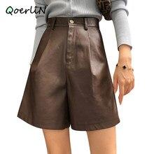 Boosty-pantalones cortos de piel sintética para mujer, Bermudas holgadas de pierna ancha, hasta la rodilla, color negro, para Otoño e Invierno