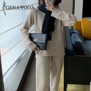 Image 3 - Genayooa Vintage de punto para mujer trajes de dos piezas de manga larga conjunto de 2 piezas para mujer casual conjunto de dos piezas y pantalones 2019 invierno