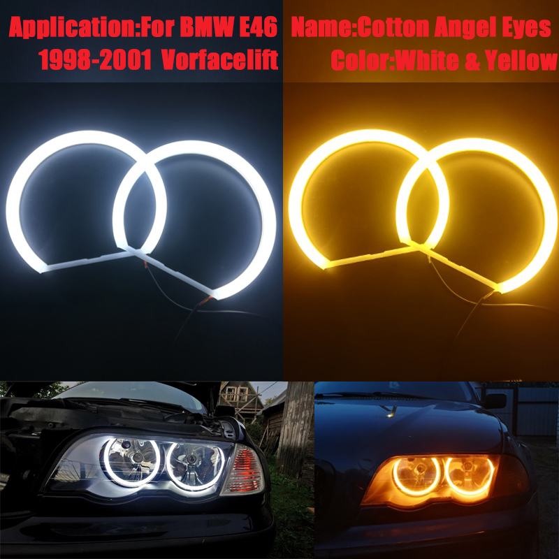 LED Angel Eye Halo Rings Kit SMD White Yellow For BMW E53 X5 1999-2004 Headlight