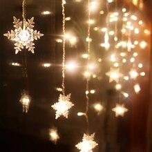 Красочные Снежинки светодиодный гирлянды рождественские занавески огни мигающие огни Водонепроницаемый Открытый Праздник Вечеринка сказочные огни D35