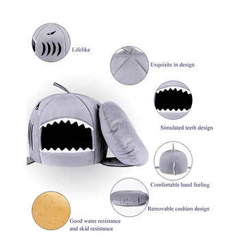 Hot Cat Mat Shark Shape House Warm Kennel Kittens Bed One Mats Two Usages Kennel Cat Beds Outdoor Tent Pet Products Cats Basket
