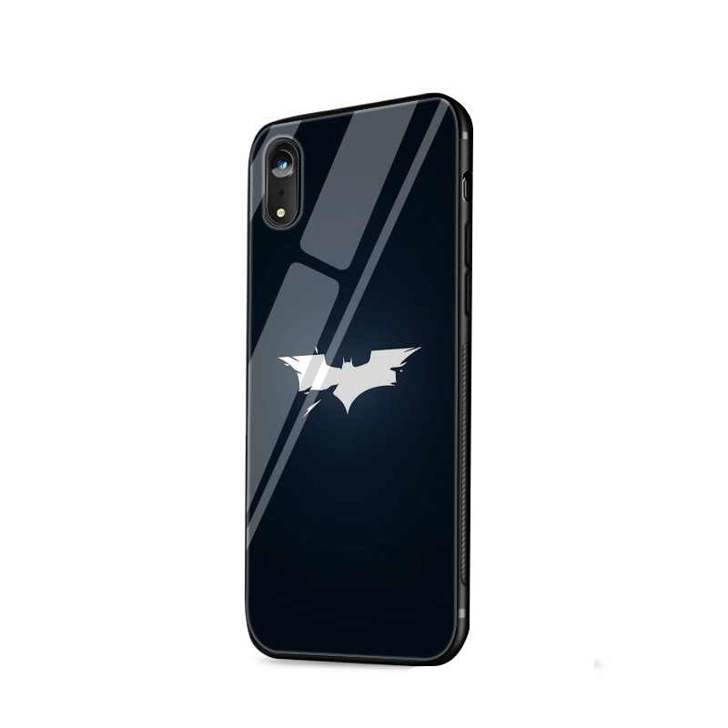 Mobile Phone Case Glass For iPhone Xr X Xs Max iPhone 7 8 6 6s Plus Cover Marvel Batman Logo