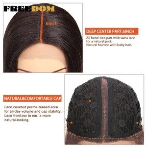 Image 5 - FREEDOM syntetyczna koronkowa peruka z przodu 38 cali głęboka część długie proste peruki Ombre Cosplay peruki syntetyczna koronkowa peruka dla czarnych kobiet