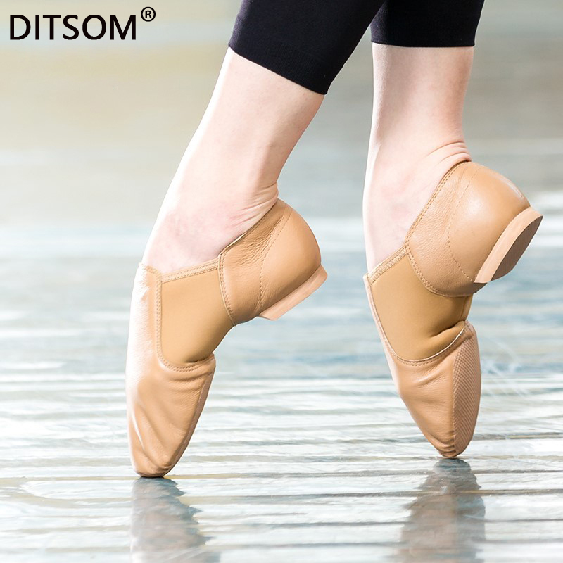 Hot Sale Natural Leather Stretch Slip On Jazz Dance Shoes For Children Women Men Soft Exercise Shoes Ballet Shoe Dancing Sneaker