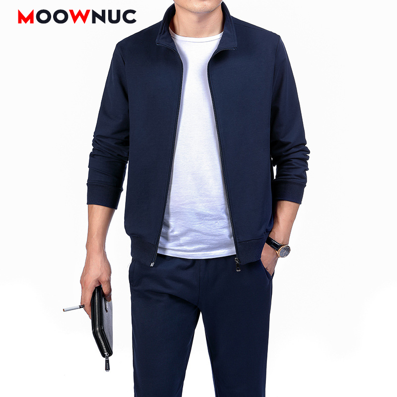Men's Set Pant + Hoodies New 2020 Male Jogger Thick Loose Youth Two Piece Suit Fashion Mens Clothing Spring Casual Solid MOOWNUC