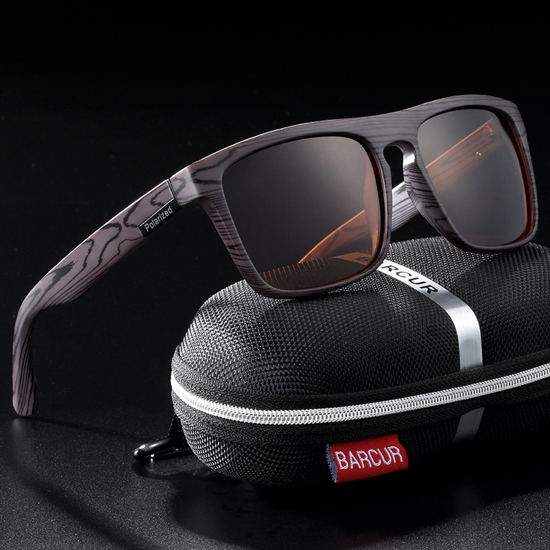 BARCUR Polarized Imitation Wood Sunglasses for Men Googles Women Sunlass Retro Sun Glasses Oculos de sol