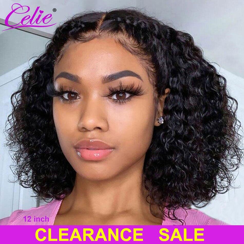 Perruque Bob Lace Front Wig frisée-Celie, cheveux humains, fermeture 4x4, perruque Lace Front Wig pour femmes noires