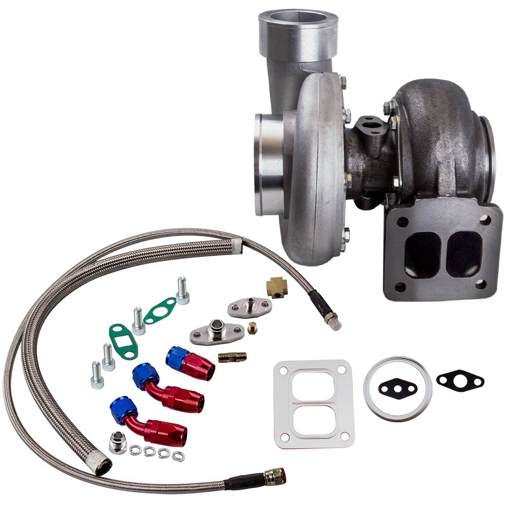 GT45 T4/T66 Racing V Band Turbo Charger + Olie Afvoer Feed & Return Lijn Kits Turbo tot 600 Hp 1.05 A/R 98 Mm