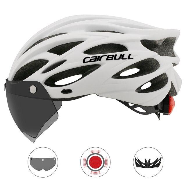 Intergrally-moldado mountain bike capacete com óculos removíveis viseira ajustável das mulheres dos homens bicicleta ciclismo taillight capacete 2