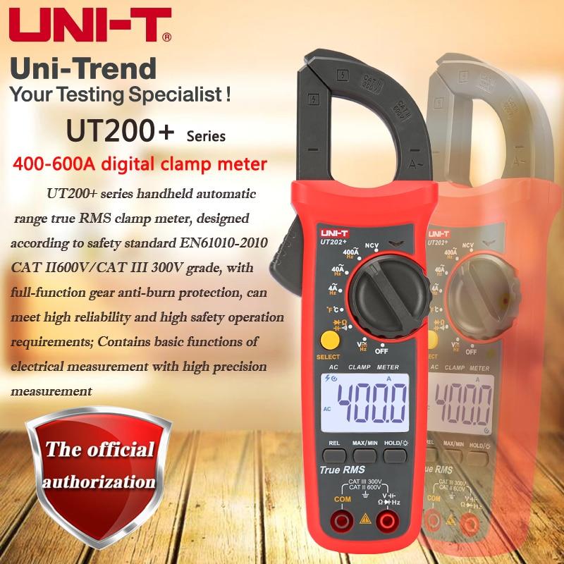 UNI T UT201+/UT202+/UT203+/UT204+/UT202A+ digital clamp meter; auto range true RMS with protection digital display multimeter Clamp Meters     - title=