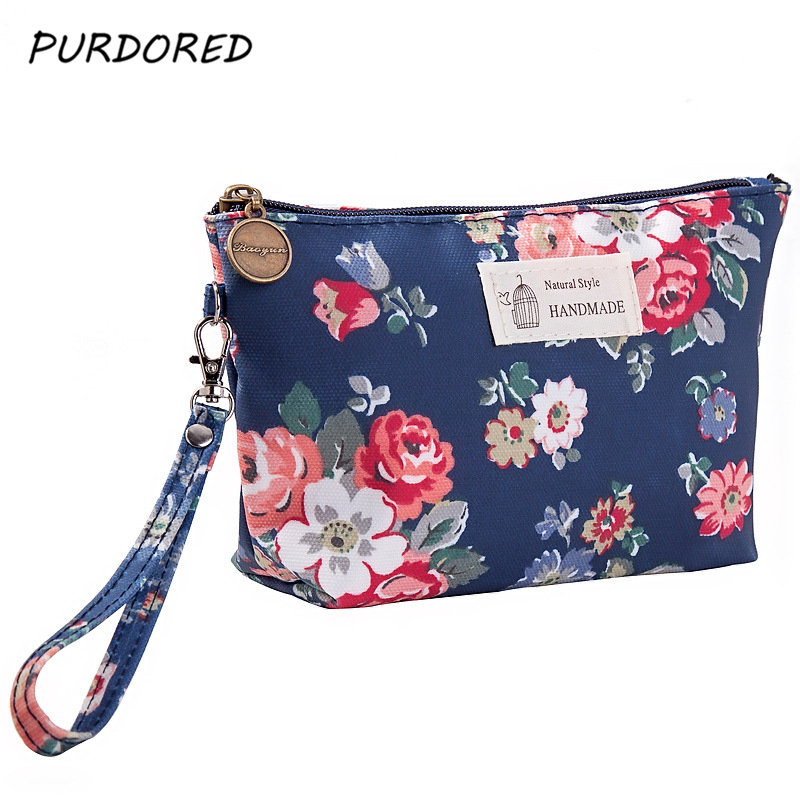 PURDORED 1 Pc Portable Flowers Travel Cosmetic Bag Female Makeup Organizer Storage Bags Travel Toiletry Kit Dropshipping