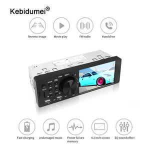 Image 1 - Kebidumei 4.1 polegada 12 v bluetooth rádio do carro autoradio 1din tela de toque estéreo do carro fm aux em 1 din carro mp3 player multimídia