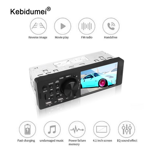 kebidumei 4.1 inch 12V Bluetooth Car Radio AutoRadio 1Din Touch Screen Car Stereo FM Aux IN 1 Din Car MP3 Multimedia Player