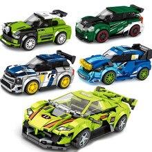 Velocidade campeões carro racer define blocos de construção kits tijolos modelo hornet transformação crianças brinquedos ônibus técnica cidade grande veículo