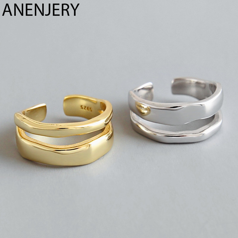 ANENJERY Charming Irregular High Polish Wave Open Rings 925 Sterling Silver Rings Jewelry For Women Party Gifts S-R513