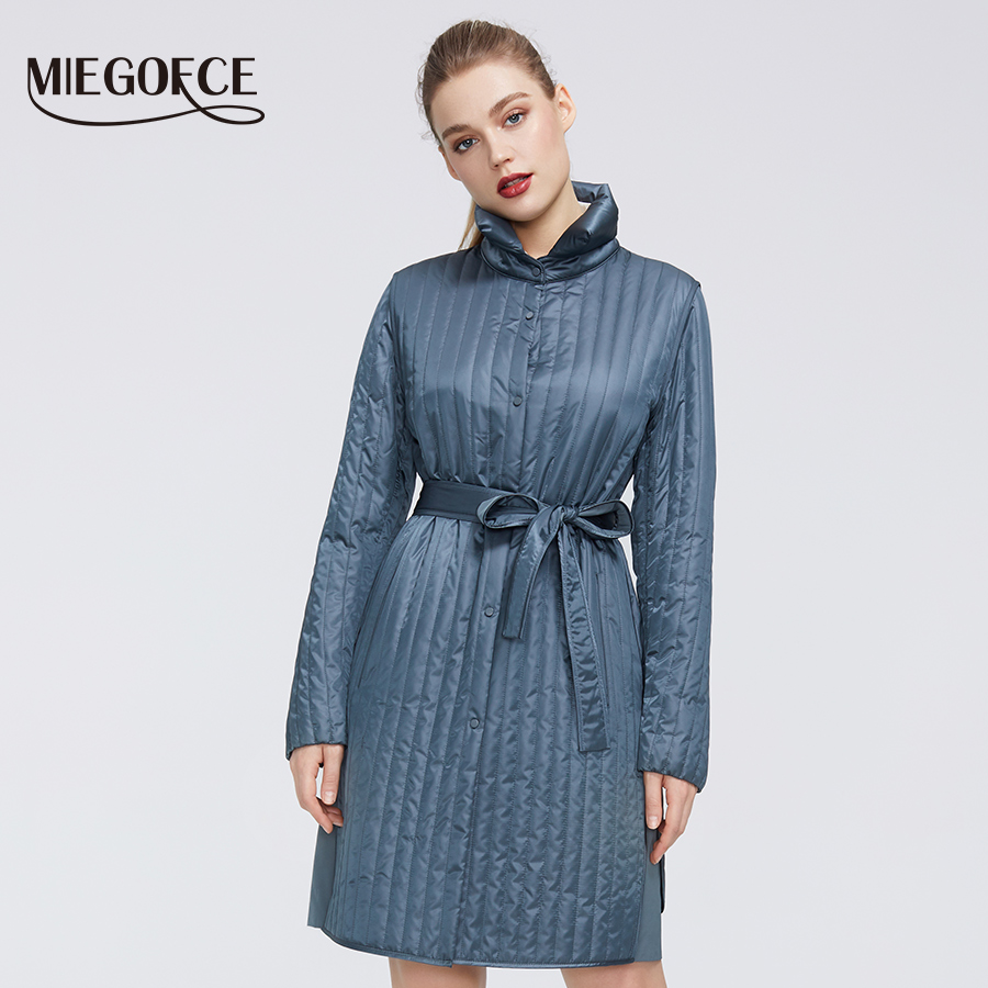 MIEGOFCE 2020 New Spring Collection Warm Cotton Women Coat  High-Medium-Quality Long Lasting Collar With Belt Women Warm Jacket