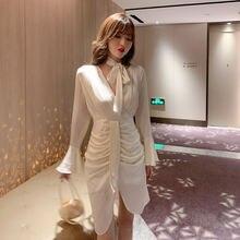 2020 осеннее французское платье с длинными рукавами офисное