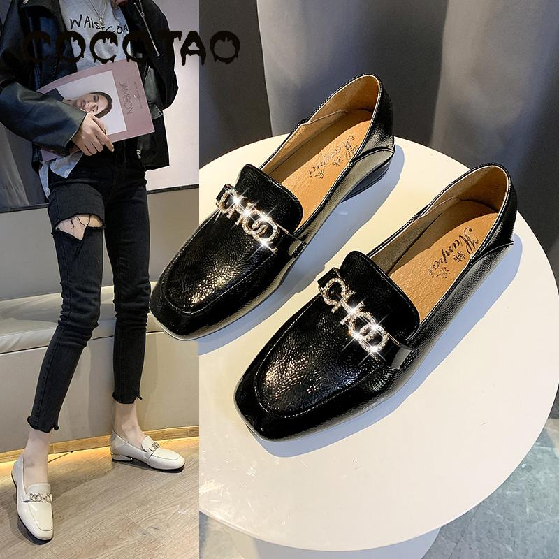 English Wind Square Head Grandma Shoes Women With Thick Heels And Low Heels Wear Small Leather Mesh Soft Comfortable Shoes 2019