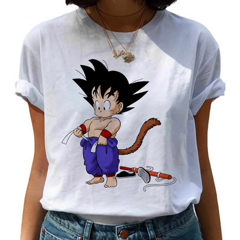 Dragon Ball Z Harajuku Funny T Shirt Women Kawaii Son Goku Anime T-shirt Super Saiyan Ullzang Tshirt 90s Graphic Top Tees Female