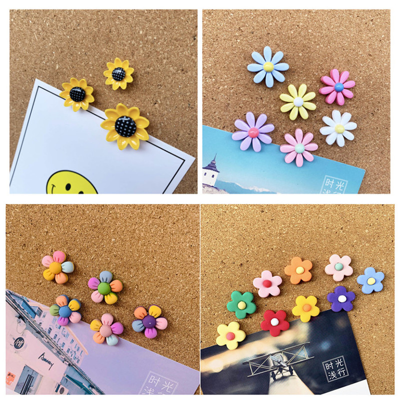 1set Colored Flowers Push Pins For Cork Board Cute Thumbtack Boards Decorative Plastic Tacks Pins Cute Photo Wall Pin Office