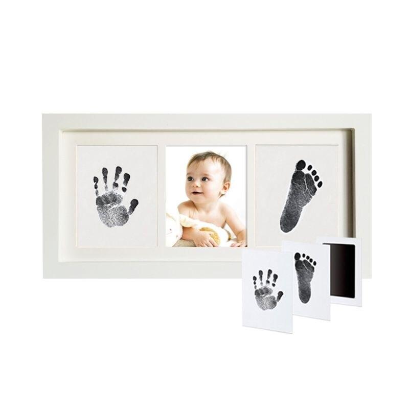 Baby Handprint Kit & Footprint Photo Frame For Newborn Girls And Boys Unique Baby Shower Gifts Set Memorable Keepsake Box