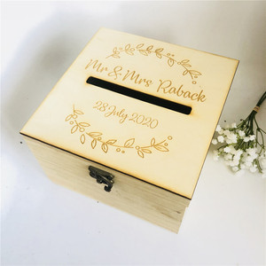 Image 1 - Personalised Bride and Groom Wedding Guests Wish Post Box with wreath Cards Envelopes Drop in Memory Wishing Well Wooden Box