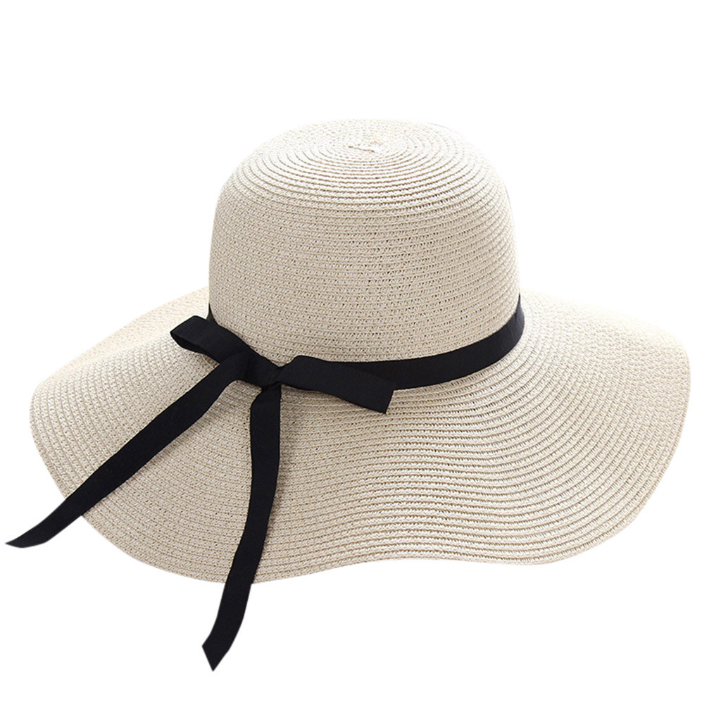 SAGACE Hat Lady Big Along The Bow Visor Straw Hat Sun Hat Winter Autumn Straw Sunhat Women  Beach Wide Brim   Outdoor Travel