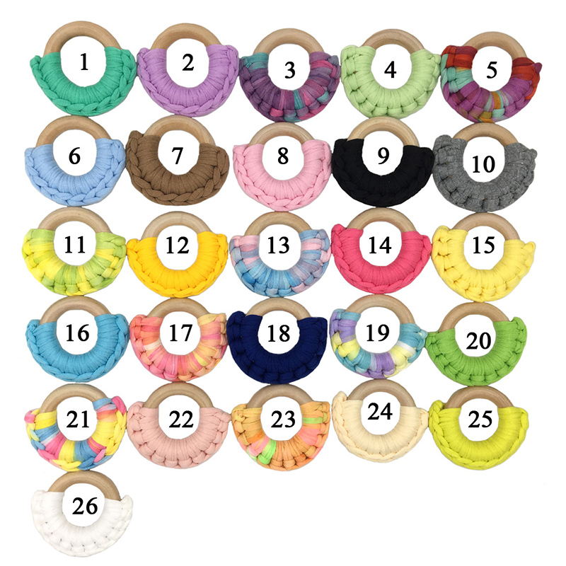 DIY 26 Color 50mm Newborn Wood Teether Crochet Wood Ring Safe Natural Maple Teething Toy Pendant For Ring Baby Wood Teether Gift