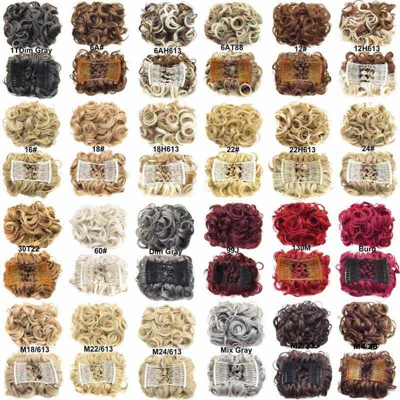 MERISI pelo 2 pinza de peine de plástico en piezas de pelo sintético rizado Chignon Updo cubierta extensión para pelo moño para el pelo accesorios