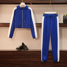 100kg can wear women sport suit zip up hoodie jacket+sweatpant casual jogger running fitness workout set sportswear sweatsuits