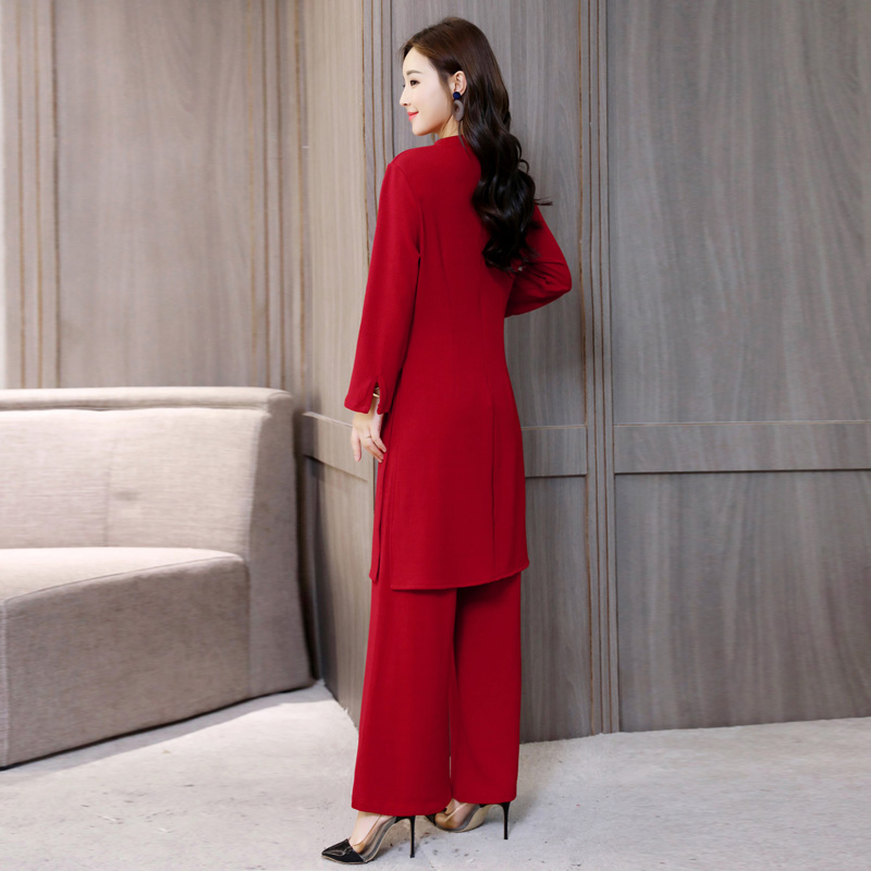 Top SaleSuit Trousers Dress Hong-Kong Two-Piece Autumn Showing Female Korean-Version Long-Sleevedú