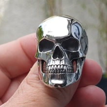 Gothic 316L Stainless Steel Skull Ring Motorcycle Party Personality Silver Color Skull Ring Men's Punk Hip Hop Jewelry high quality punk harley jewelry boys mens chain skull black silver tone biker motorcycle link 316l stainless steel bracelet