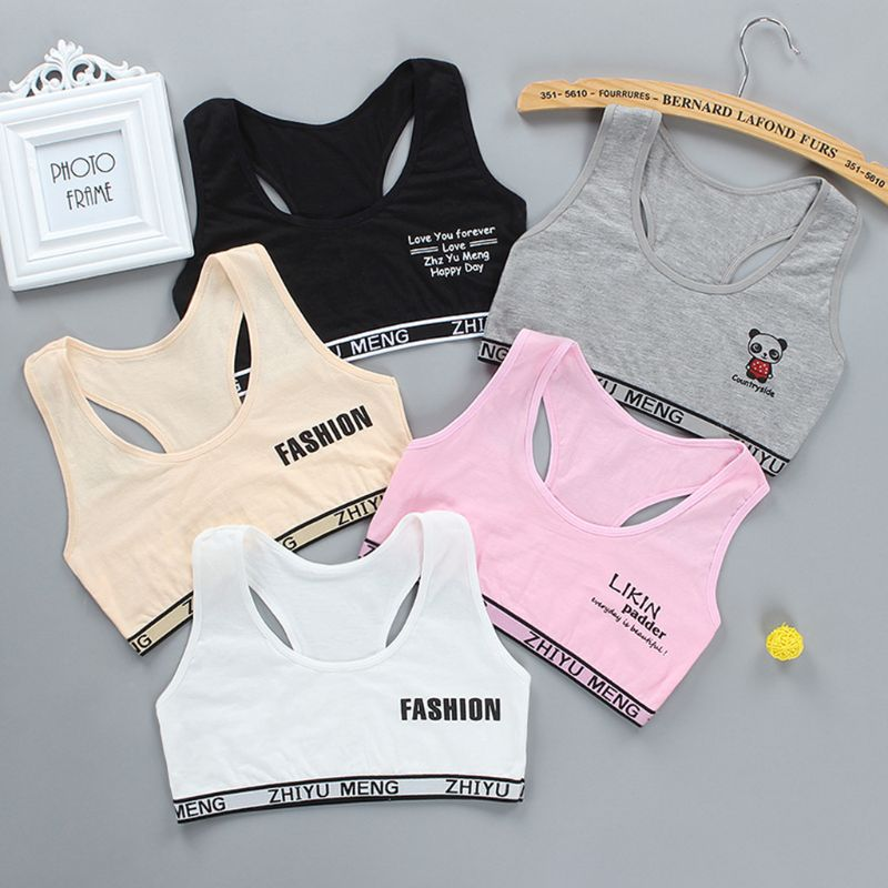 Junior Girl Racerback Cotton Sport Training Bra Letter Print Solid Color Wide Strap Underwear Bralette Seamless Layered Crop Top