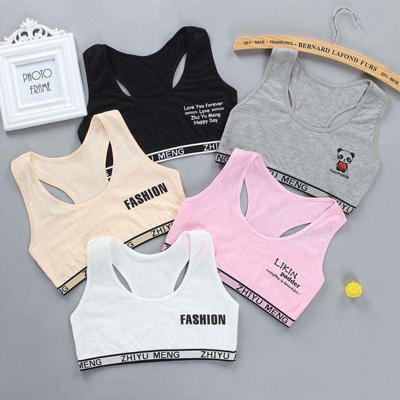 Junior Girl Racerback Cotton Sport Training Bra Letter Print Solid Color Wide Strap Underwear Bralette Seamless Layered Crop Top