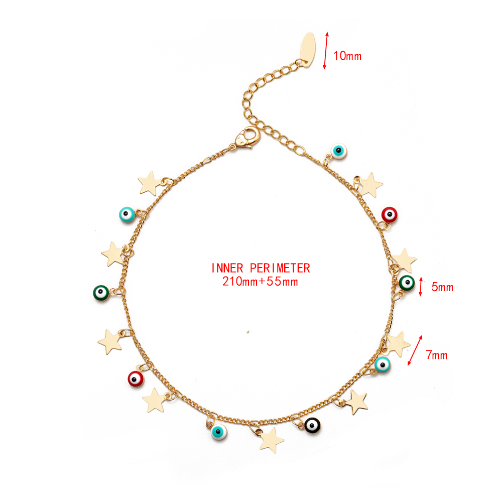 EVIL EYE Star Charm Anklet Bracelet Gold Color Foot Chain Adjustable Turkish Eye Ankle Fashion Jewelry for Women Female EY6502 1