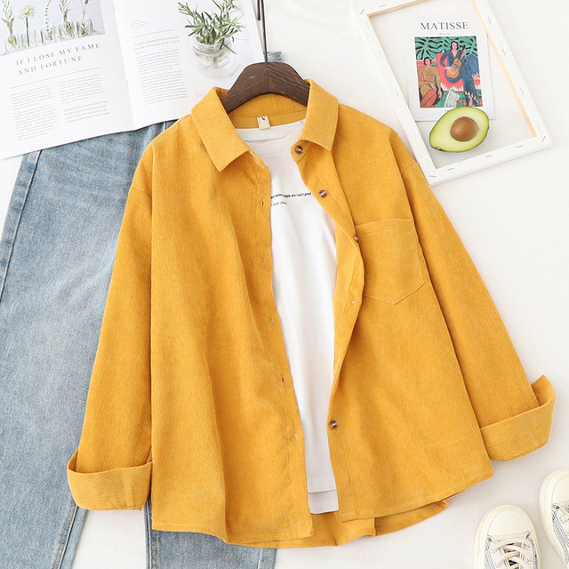 Corduroy Shirts Womens Tops And Blouses Long Sleeve Spring Ladies Solid Loose Boyfriend Style Shirt 2
