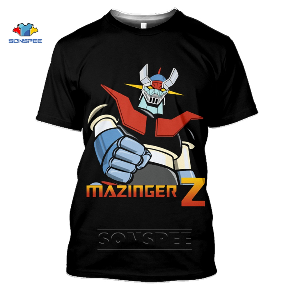 SONSPEE <font><b>Mazinger</b></font> <font><b>Z</b></font> <font><b>T</b></font> <font><b>Shirt</b></font> Women Japan Robot Anime 3D Print Men's <font><b>T</b></font>-<font><b>Shirt</b></font> Summer Top Short Sleeve Harajuku Streetwear Tee <font><b>Shirts</b></font> image