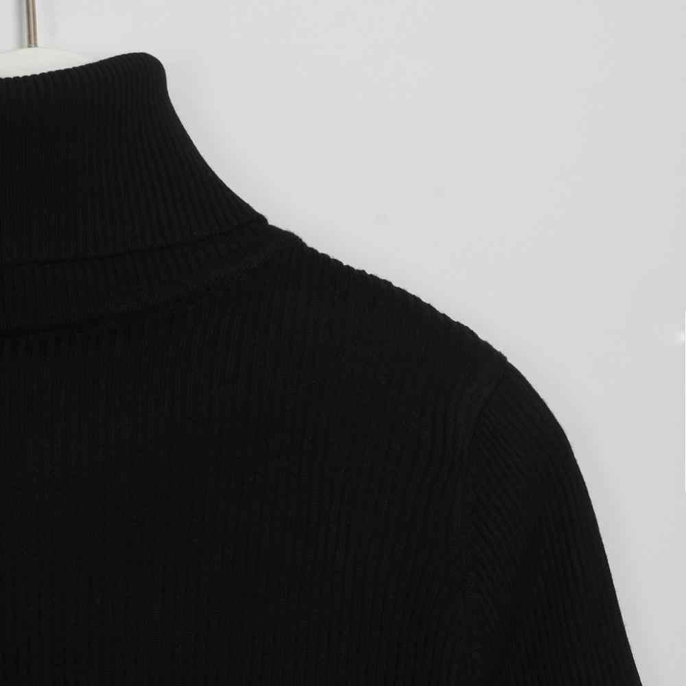 Wixra الخريف الشتاء الياقة المدورة الركبة طول الصلبة سترة فستان المرأة متماسكة طويلة الأكمام المرأة ضئيلة فساتين متوسطة الطول Bodycon