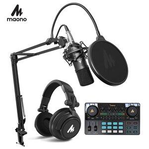 Image 1 - Maono microfone condensador profissional podcast studio microfone de áudio 3.5mm computador mic para youtube karaoke gravação jogos