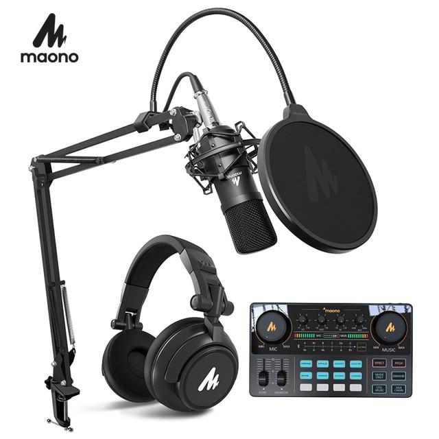 Maono microfone condensador profissional podcast studio microfone de áudio 3.5mm computador mic para youtube karaoke gravação jogos
