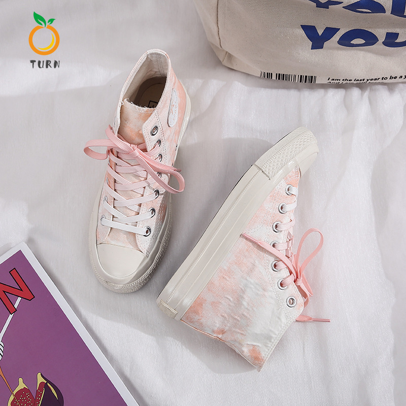 TURN Women's Blue Orange Green Three-color High Low Canvas Shoes Couple Models