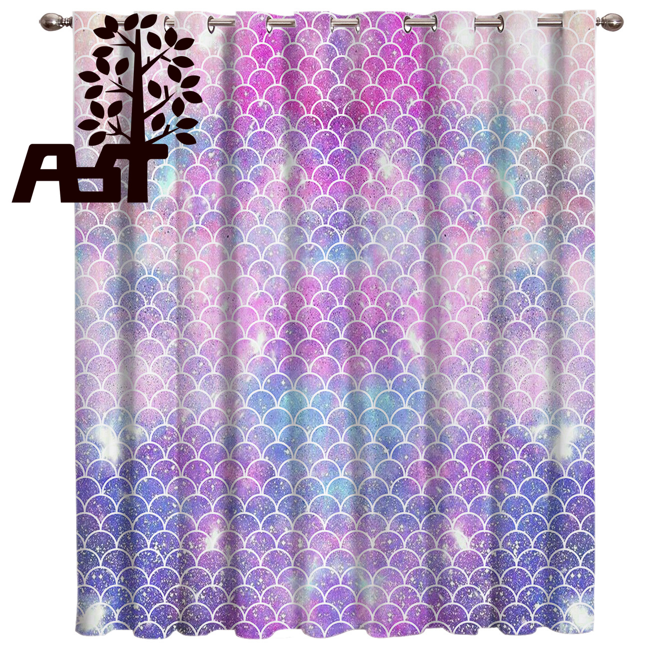 Beautiful Mermaid Scales Colorful Blackout Window Curtains Living Room Kitchen Blackout Curtains Left And Right Biparting Open