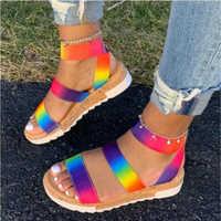 Kobiety letnie kostki sandały z paskami kolor tęczy buty na koturnie obcas Peep Toe moda na co dzień plaża panie buty Zapatos De Mujer