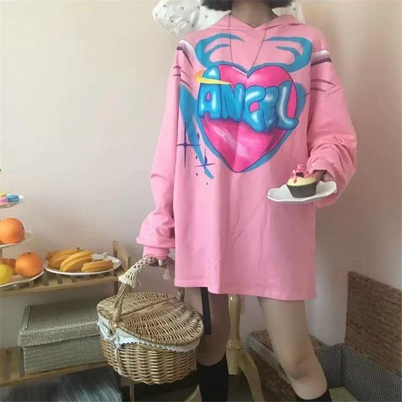 NiceMix Kawaii Spring Women Sweatshirt Hooded Korean Style Cute Girl Heart Angel Wings Print Loose Long-sleeved Thin Students