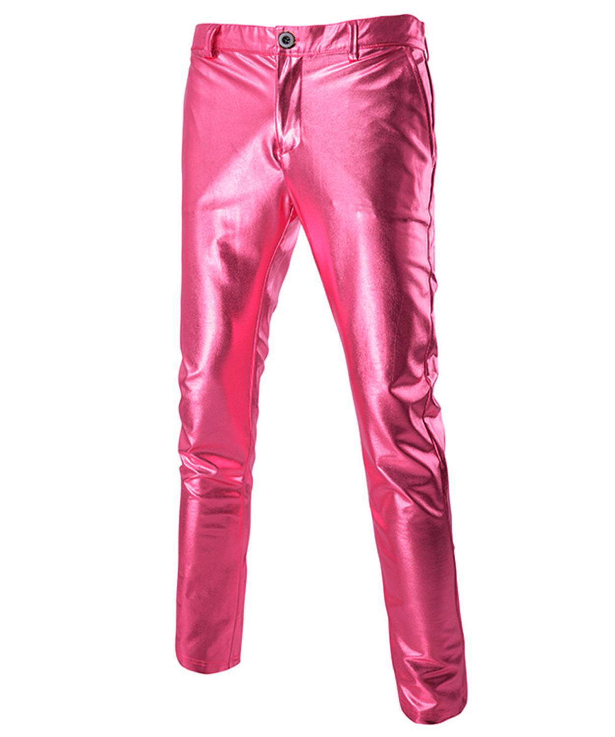 Men's Bright Pants Casual gilded slacks Wedding &Party trousers Slim Fashion Size M-4XL Slim  Out Wear Fashion Colorful Trousers