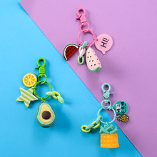2019 New  Creative Banana Avocado Pineapple Key chain Simulation Fruit silicone Keychains Suitable For Womens Jewelry Keyring