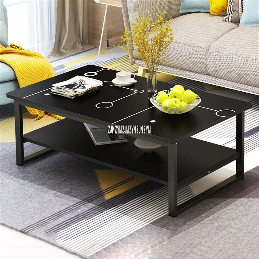 Simple Modern Household Sofa Side Table Manmade Board Double Layer Tea Table Living Room Balcony Creative Square Coffee Table