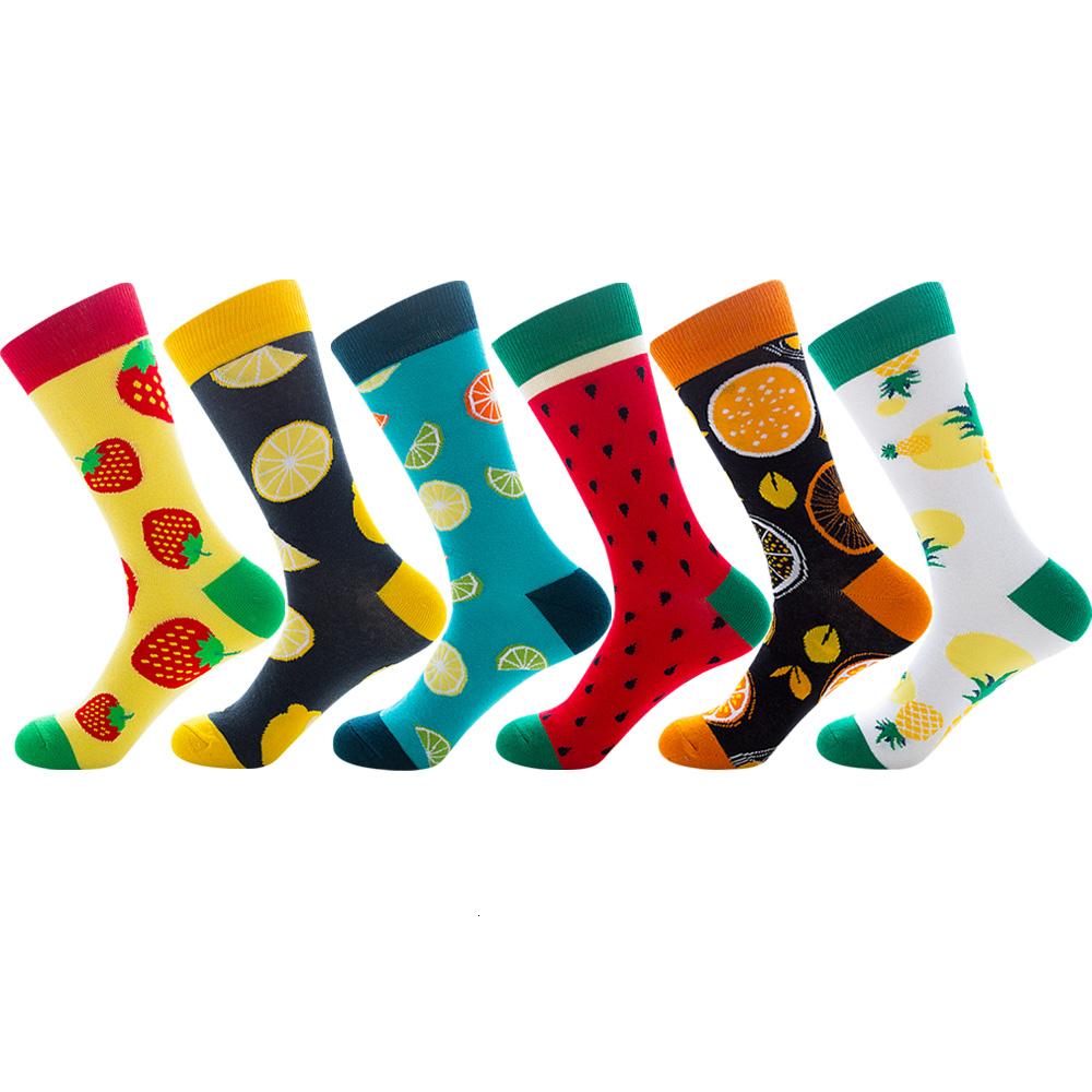 Creative Men's Colorful Striped Cartoon Combed Cotton Happy Socks Crew Wedding Gift Casual Crazy Funny Socks Unisex Crazy Sock